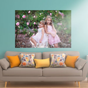 Incredible large stunning glass printed photo of 2 young sisters