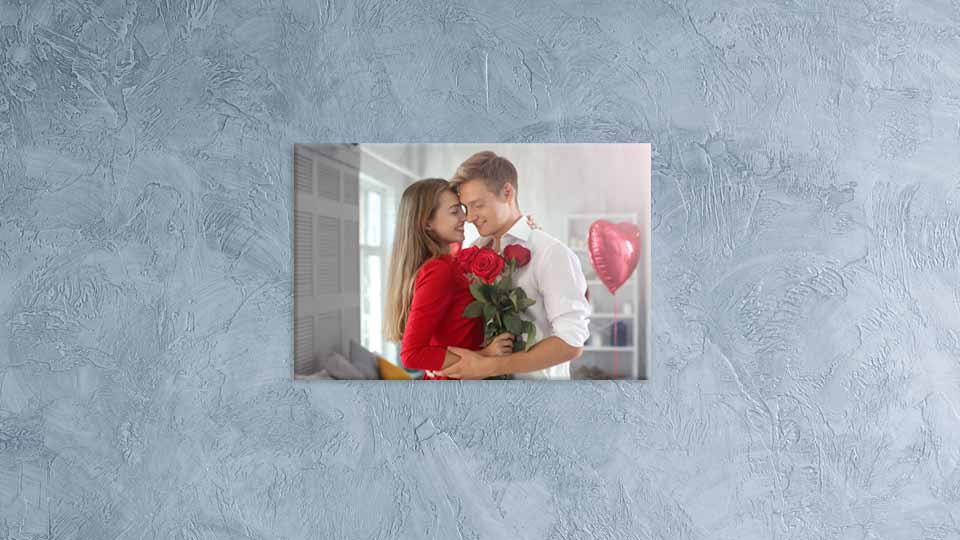Romantic couple in stunning glass printed photo display